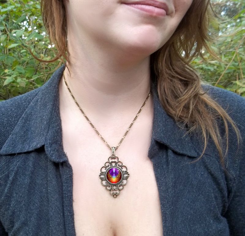 "Unique Chakra Jewelry, Reiki Healing Pendant, Rainbow Necklace  ""Chakra Heart"" - product images  of"