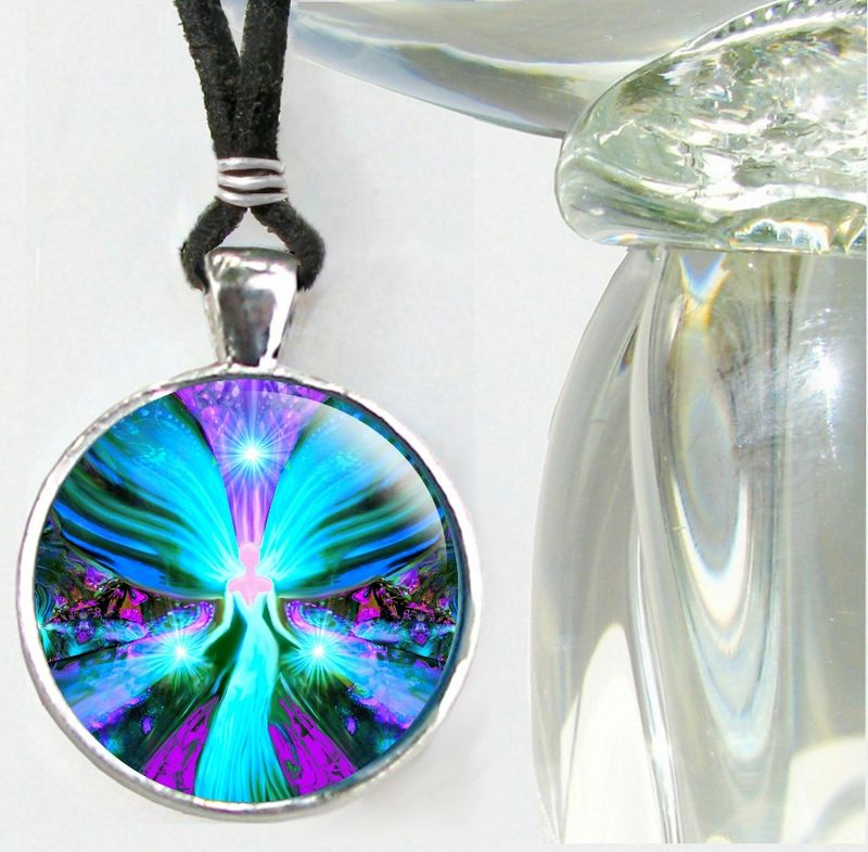 "Blue Necklace, Reiki Angel Pendant, Energy Healing Jewelry - ""Lightworker"" - product images  of"