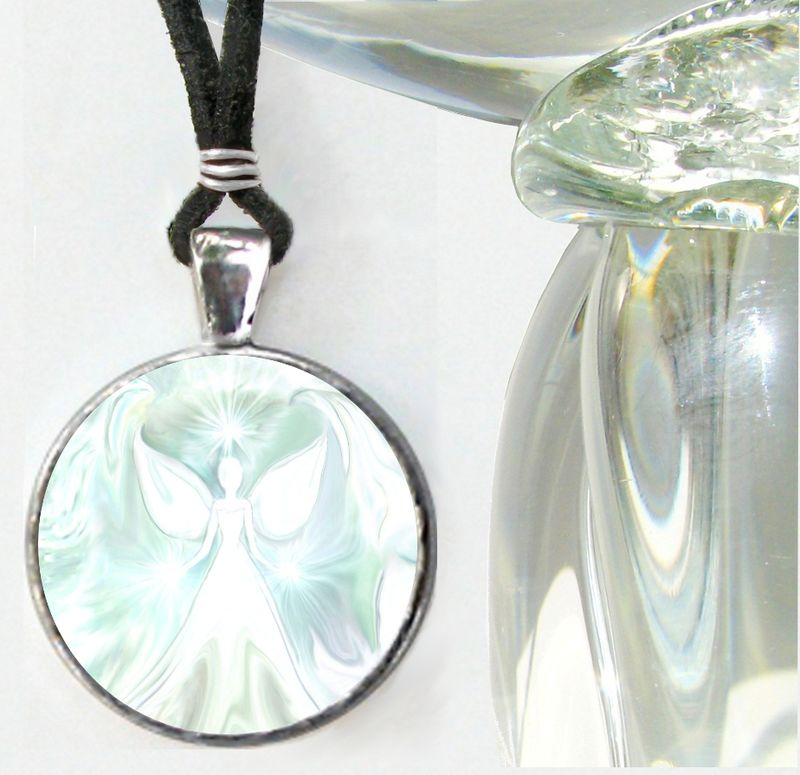 "White Necklace, Crown Chakra Jewelry, Reiki Energy Angel ""Vision"" - product images  of"