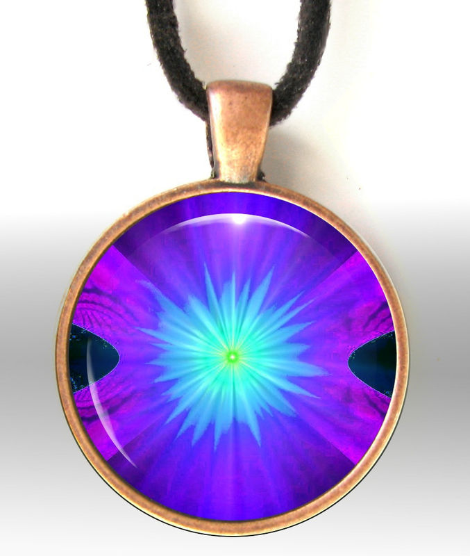 Purple Necklace, Chakra Jewelry, Reiki Pendant, Energy Necklace Third Eye - product images  of