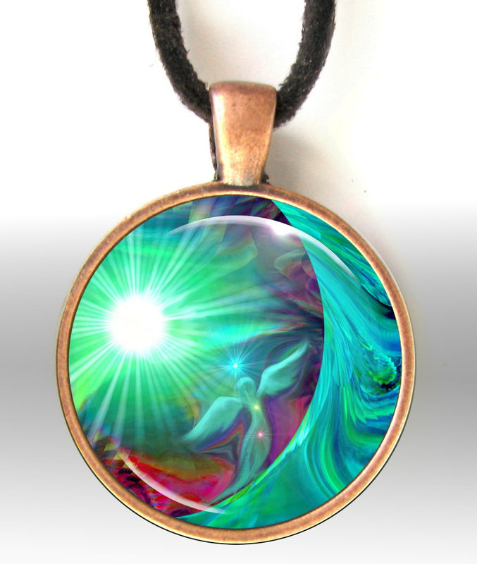 "Chakra Jewelry, Wearable Art Pendant Necklace, Reiki Angel Necklace ""Heart Chakra Healing"" - product images  of"