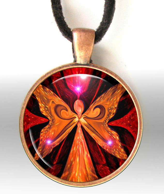 "Red Necklace, Angel Pendant, Chakra Jewelry Reiki Energy Necklace ""Illumination in Red"" - product images  of"