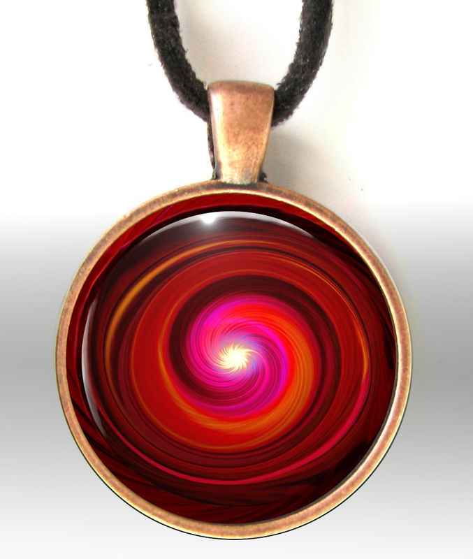 Red Necklace, Root Chakra Jewelry, Reiki Energy Art Pendant Swirl - product images  of