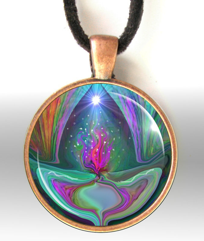 "Violet Flame Necklace, Reiki Jewelry, Energy Art Pendant Necklace ""Violet Flame"" - product images  of"