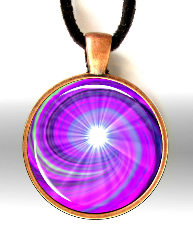 "Chakra Jewelry, Energy Art, Violet Crown Chakra, Swirl Pendant Necklace ""Intuition"" - product images  of"