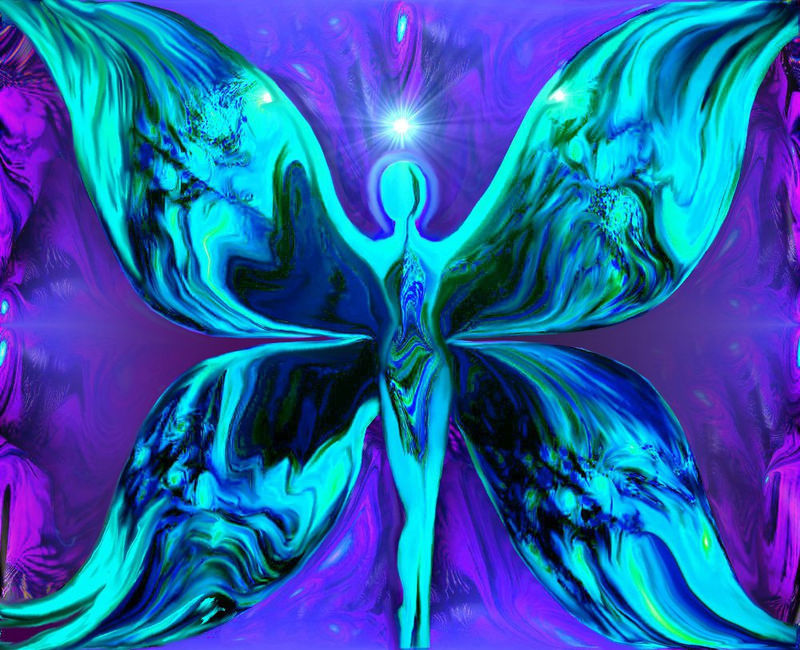 Butterfly Angel Print, Blue Wall Decor, Reiki Energy Art