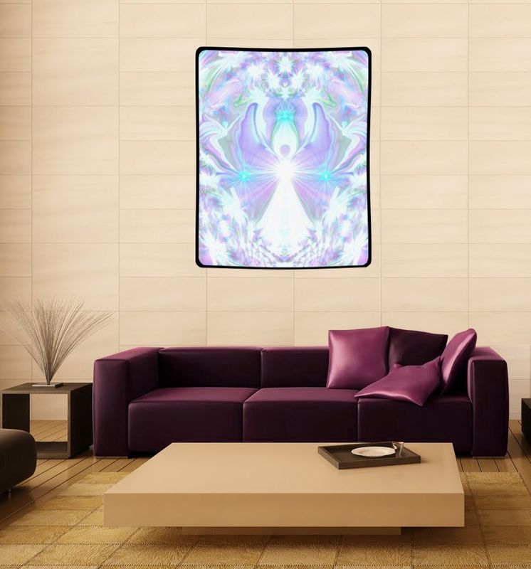 "White Violet Angel Tapestry, Crown Chakra Art ""On the Wings of Angels"" - product images  of"