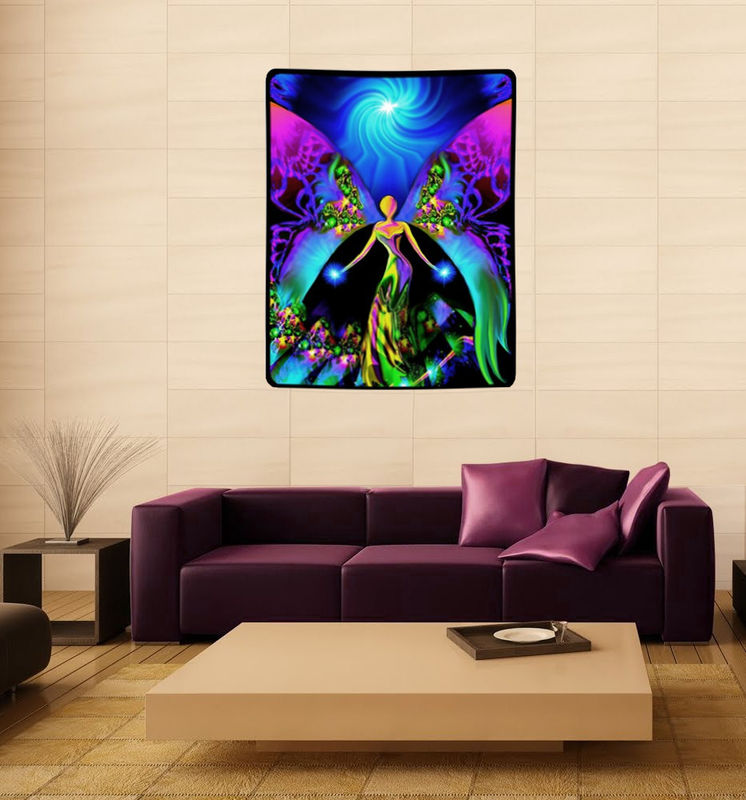 "Blue Purple Spiritual Tapestry, Reiki Healing, Angel Art ""Breaking Free"" - product images  of"