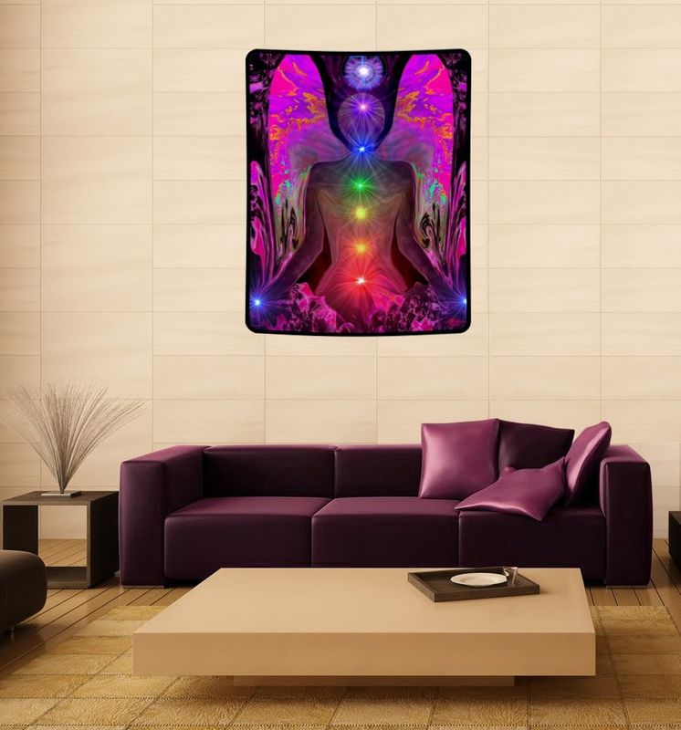 "Chakra Healing Tapestry, Spiritual Angel Art, Rainbow Reiki ""Balance Within Chaos"" - product images  of"