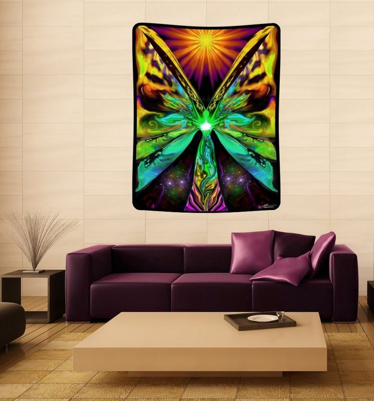 "Rainbow Reiki Tapestry, Angel Chakra Art ""Butterfly Effect' - product images  of"