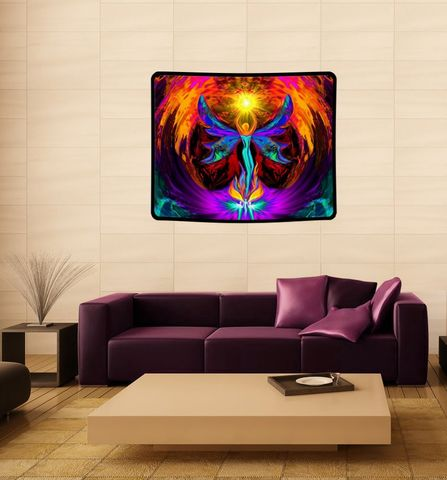 Angel,Tapestry,,Chakra,Art,,Reiki,Wall,HangingPhoenix,Rising, rainbow art, chakra art, chakra decor, chakra angel, chakra wall decoration, blanket, mushroom decor, baby blanket, curtain, art blanket, art tapestry, original art,  angel art, large art, tapestry, wall