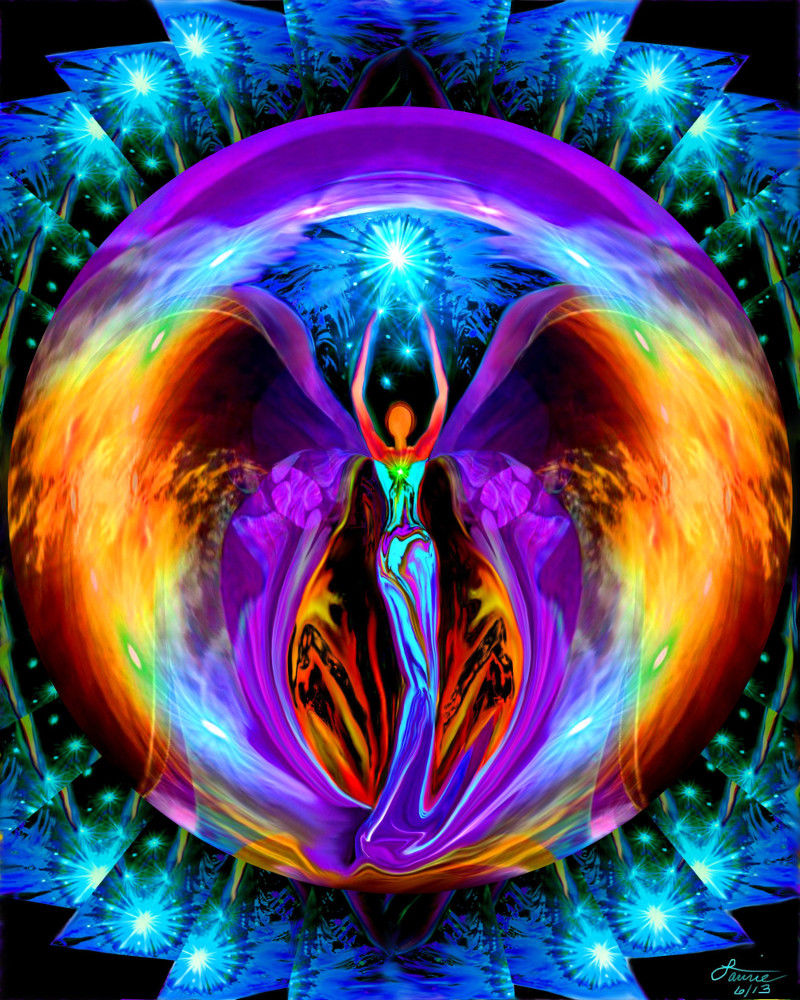 Rainbow Angel Art, Chakra Decor, Reiki Energy Embrace Light