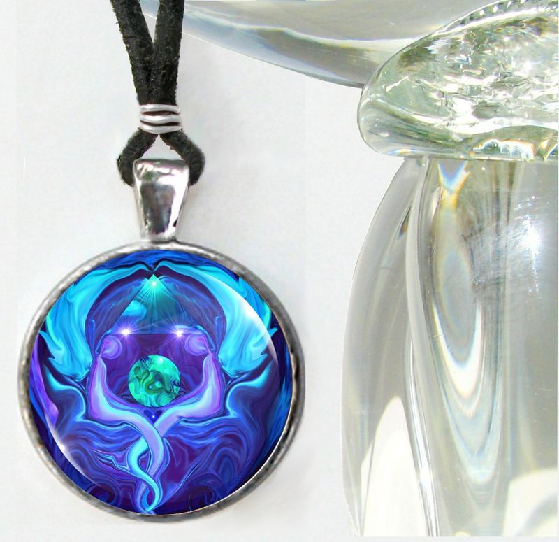 "Blue Necklace, Twin Flames, Earth Angels Reiki Jewelry - ""Healing Circle - product images  of"