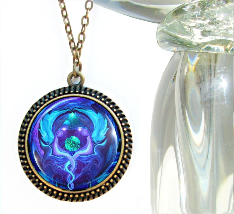 "Blue Necklace, Earth Angel, Reiki Healing Jewelry - ""Healing Circle"" - product images  of"