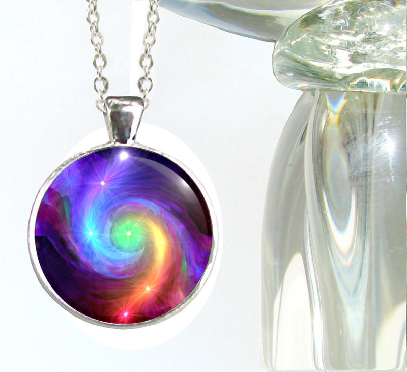 "Chakra Jewelry, Rainbow Pendant, Reiki Energy Necklace, ""Chakra Swirl"" - product images  of"