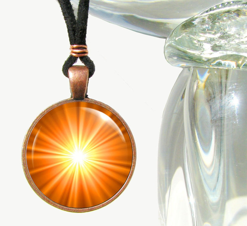 Orange Jewelry, Chakra Necklace, Reiki Energy Pendant Necklace Copper - product images  of