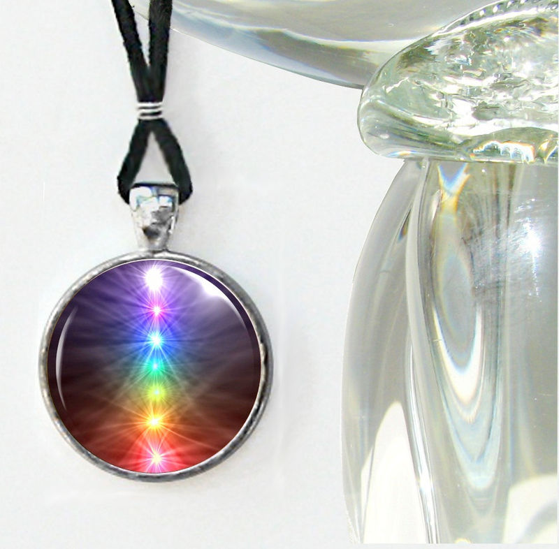 Chakra Art Necklace, Handmade Reiki Jewelry, Energy Pendant Necklace  - product images  of