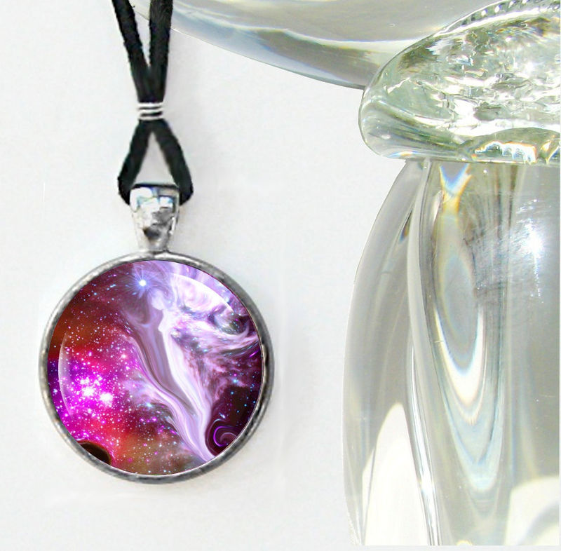 "Guardian Angel Art Jewelry, Red Necklace, Energy Healing Pendant ""The Guardian"" - product images  of"