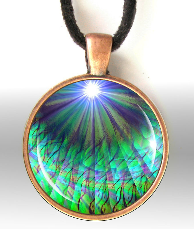 "Blue Green, Abstract Art Necklace, Energy Jewelry ""New Growth"" - product images  of"