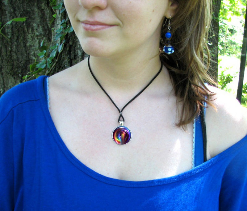 Chakra Art Necklace, Reiki Energy Pendant, Rainbow Swirl Jewelry - product images  of