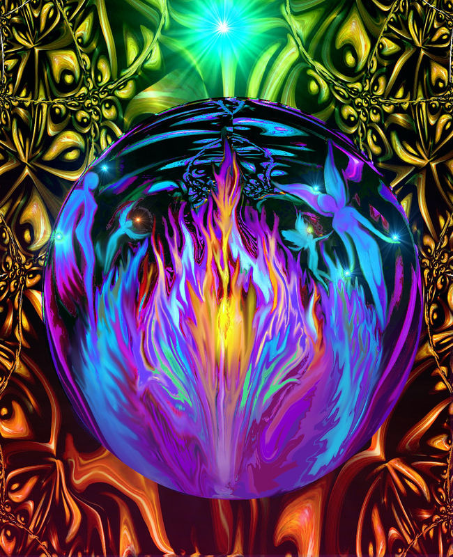 Chakra Art, Violet Flame, Psychedelic Wall Decor, Fairies