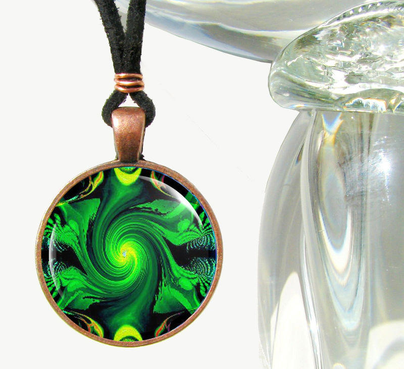 Heart Chakra Art Jewelry-Green Necklace-Reiki Energy Pendant  - product images  of