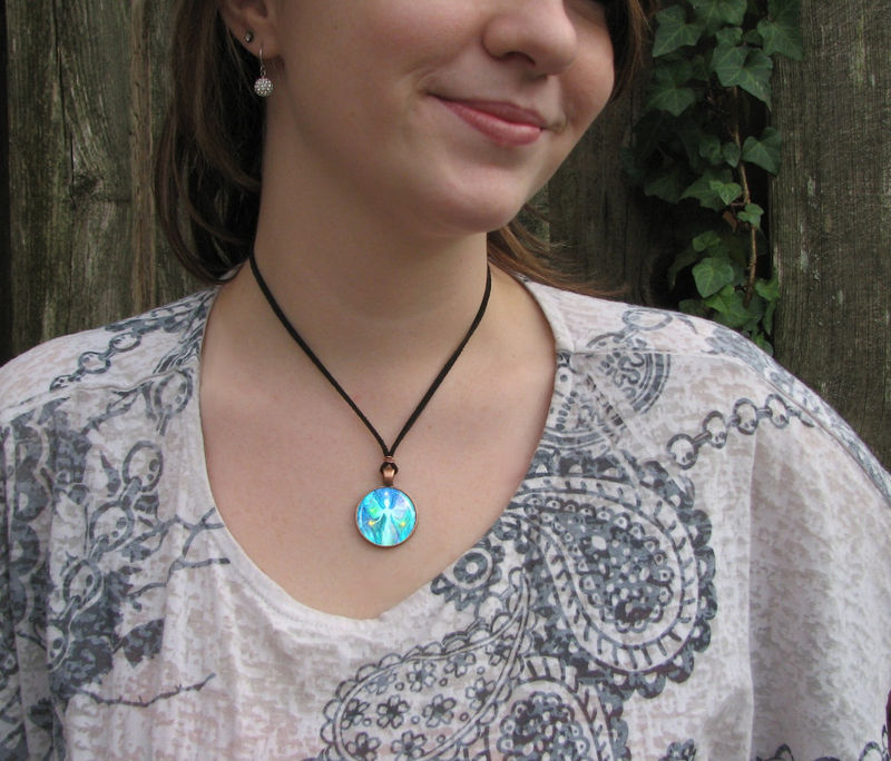 "Reiki Art Jewelry, Handmade Blue Angel Necklace ""Aura Angel"" - product images  of"