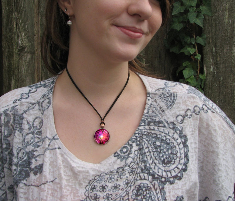 Chakra Art Necklace, Red Jewelry, Reiki Healing Pendant - product images  of