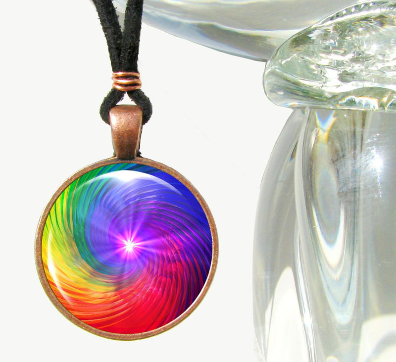 Rainbow Chakra Swirl Necklace, Spiritual Energy Art, Reiki Jewelry - product images  of