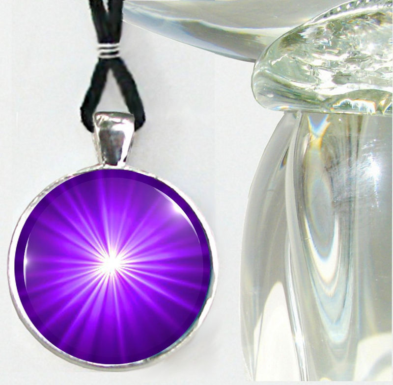 Purple Jewelry, Starburst, Third Eye Chakra Necklace, Intuition Pendant - product images  of