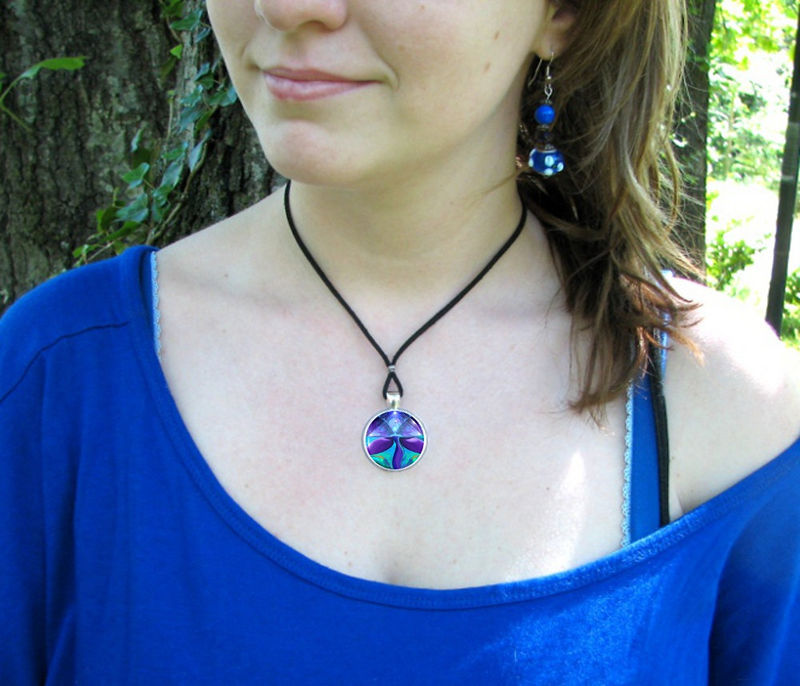 "Angel Necklace, Purple Chakra Jewelry, Reiki Energy Pendant ""Pyramid Healer"" - product images  of"