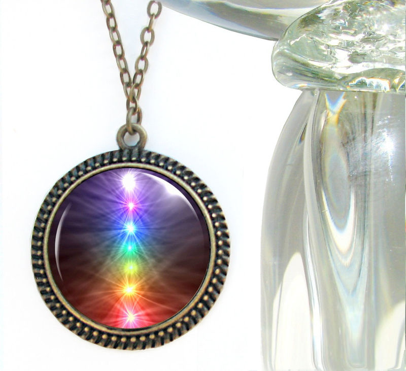 Chakra Necklace, Reiki Pendant, Unique Jewelry, Rainbow Art - product images  of
