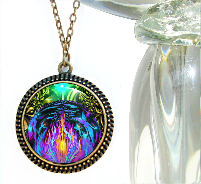 "Violet Flame Jewelry, Chakra Necklace, Reiki Energy Pendant Fairies ""Transmutation"" - product images  of"