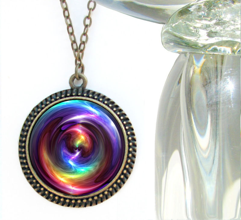 "Rainbow Swirl Necklace, Large Chakra Pendant, Reiki Jewelry ""Chakra Swirl"" - product images  of"