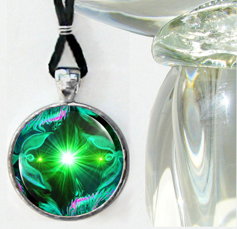 "Green Necklace, Angel Art, Heart Chakra Jewelry ""Angel Heart"" - product images  of"