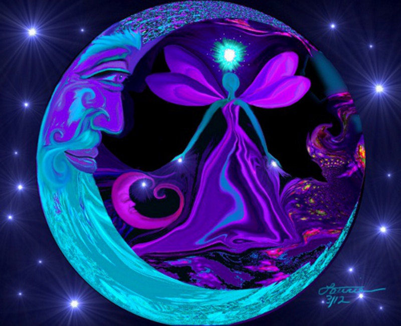 Moon Stars Art, Fairy Fantasy Night Sky, Reiki Healing