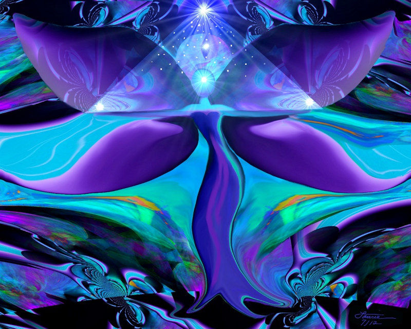 Angel Art, Reiki Wall Decor, Teal Purple Energy Art,