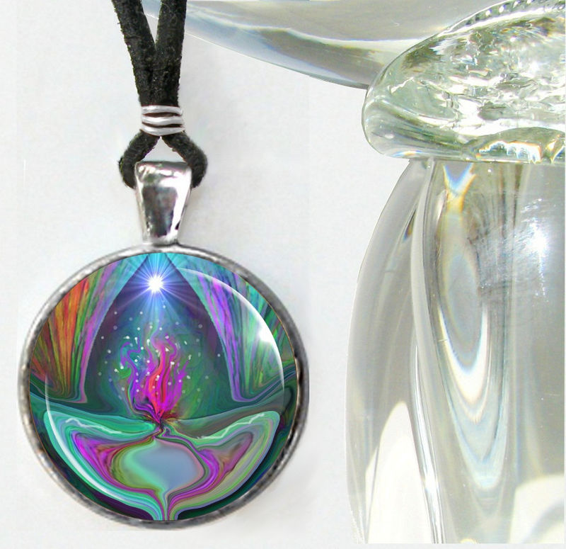 Violet Flame Necklace, Pyramid Jewelry, Reiki Pendant  - product images  of