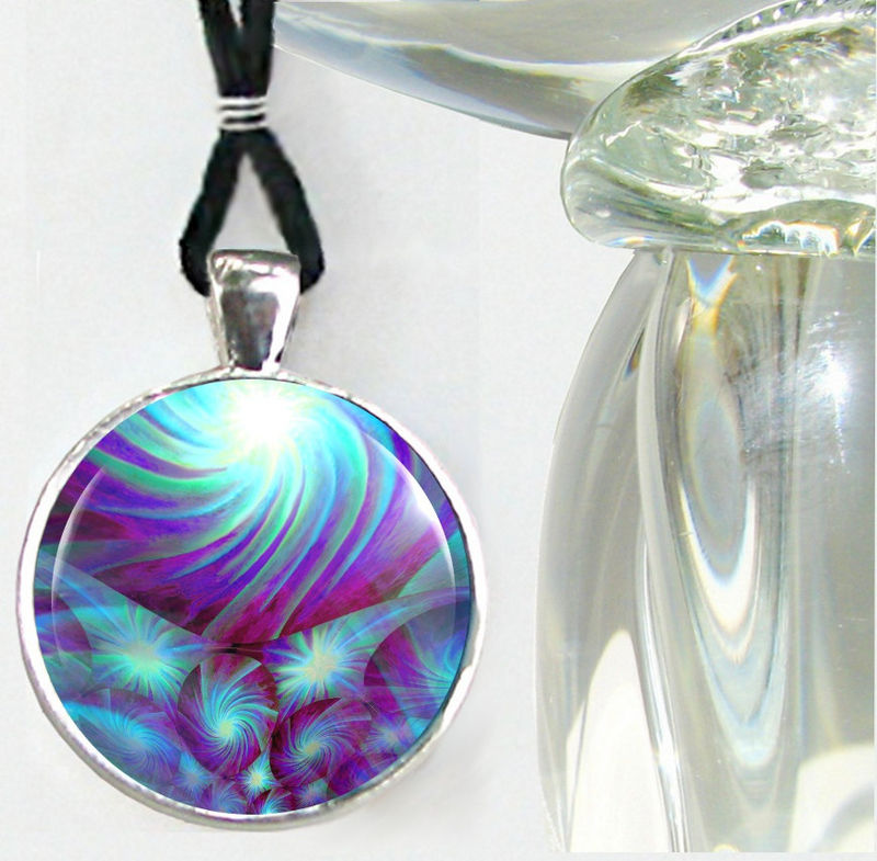 "Chakra Jewelry, Reiki Energy Pendant Necklace, Blue Abstract ""Throat Chakra Swirl"" - product images  of"