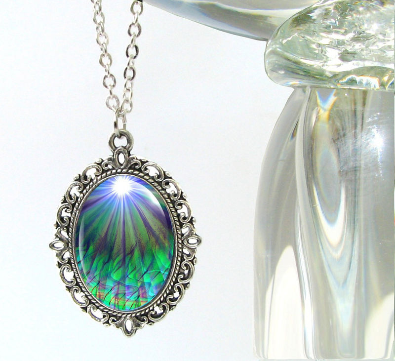 "Chakra Jewelry, Reiki Energy Necklace, Blue Green Pendant ""New Growth"" - product images  of"