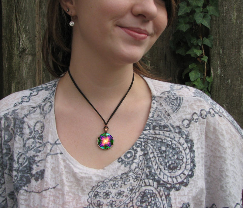 "Violet Flame Necklace, Reiki Energy Pendant, Unique Jewelry ""Chakra Flower"" - product images  of"