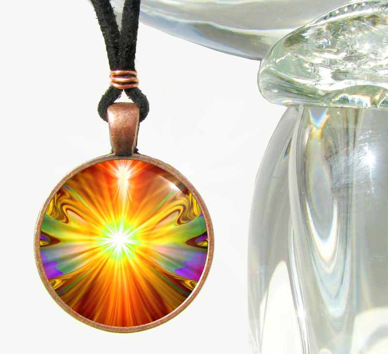 "Psychedelic Necklace, Orange Chakra Pendant, Handmade Jewelry ""Light Being"" - product images  of"
