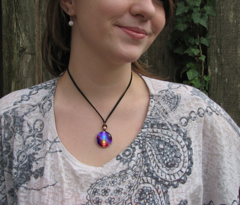 Rainbow Chakra Art Jewelry, Reiki Energy, Wearable Art Necklace - product images  of