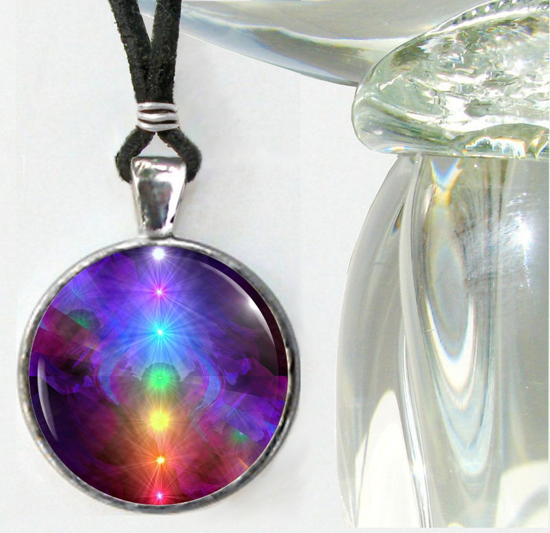 "Chakra Art Jewelry, Rainbow Reiki Energy Necklace ""Chakra Healing""  - product images  of"