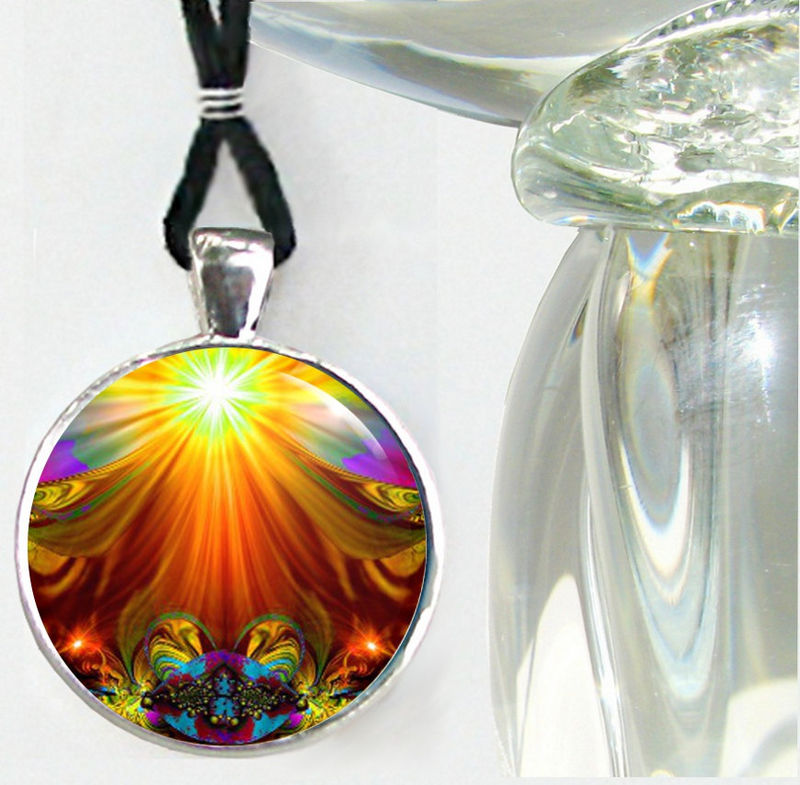 "Unique Art Jewelry, Orange Chakra Necklace ""Light Being"" - product images  of"