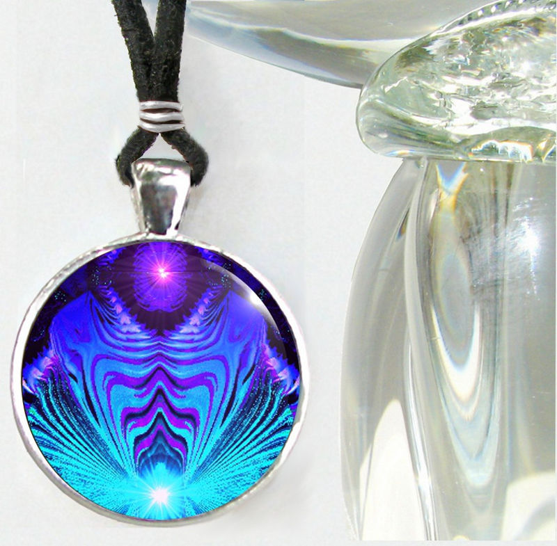 "Teal Purple Jewelry, Third Eye Chakra Necklace, Reiki Energy ""Intuitive Truth"" - product images  of"