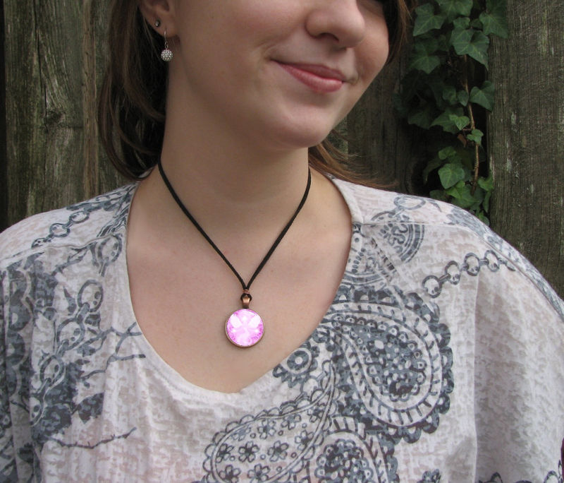 "Pink Angel Necklace, Reiki Jewelry, Energy Art Pendant, ""Bliss"" - product images  of"