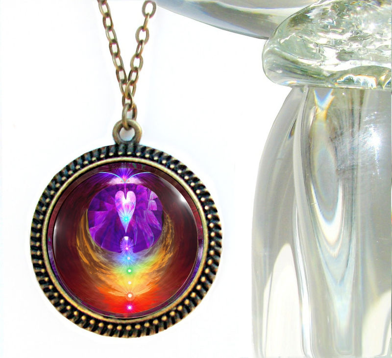 Rainbow Chakra Heart Jewelry, Angel Necklace Reiki Pendant  - product images  of