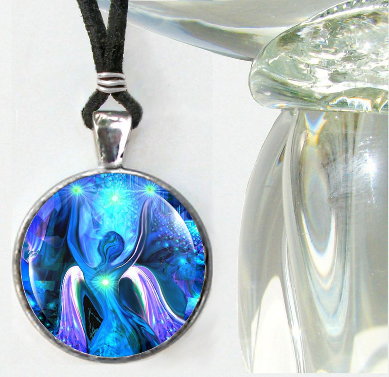 "Blue Jewelry, Angel Necklace, Wearable Art ""Alignment"" - product images  of"