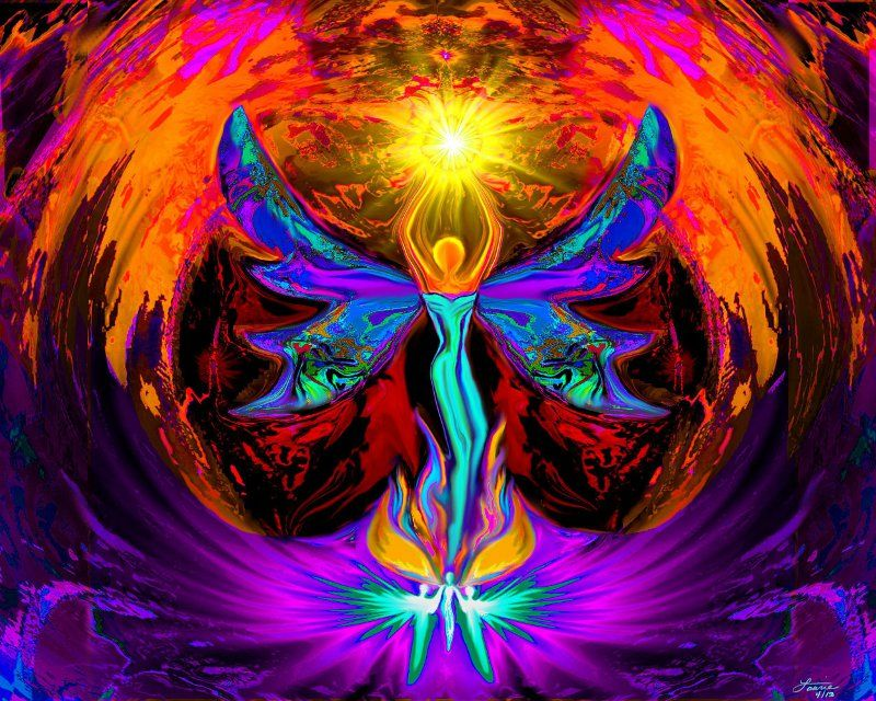 Rainbow Reiki Print, Angel Art,  Psychedelic Wall Decor,